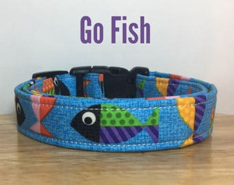 "Blue Fish Ocean Dog Collar, Dog Collar for Boys ""Go Fish"""