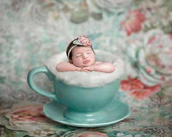 Digital backdrop, background newborn baby girl toddlar tea cup