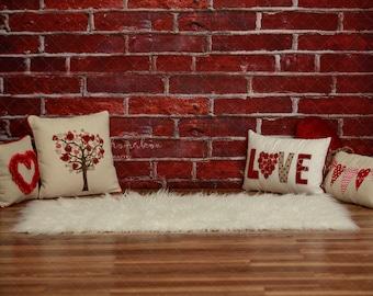 Digital backdrop, background newborn baby girl  boy , family , older children .  Valentines day pillows    heart sitter