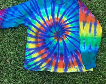 Blue/Rainbow Tie Dye swirl long sleeve