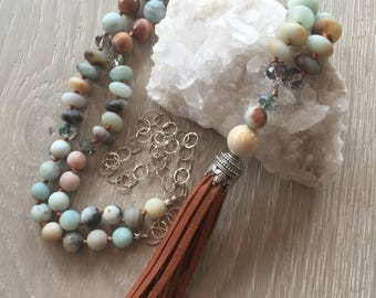 Amazonite Hand Knotted Beaded Necklace, Tassel Necklace, Beaded Necklace, Long Necklace, Leather Tassel Pendant, Sterling Silver Chain