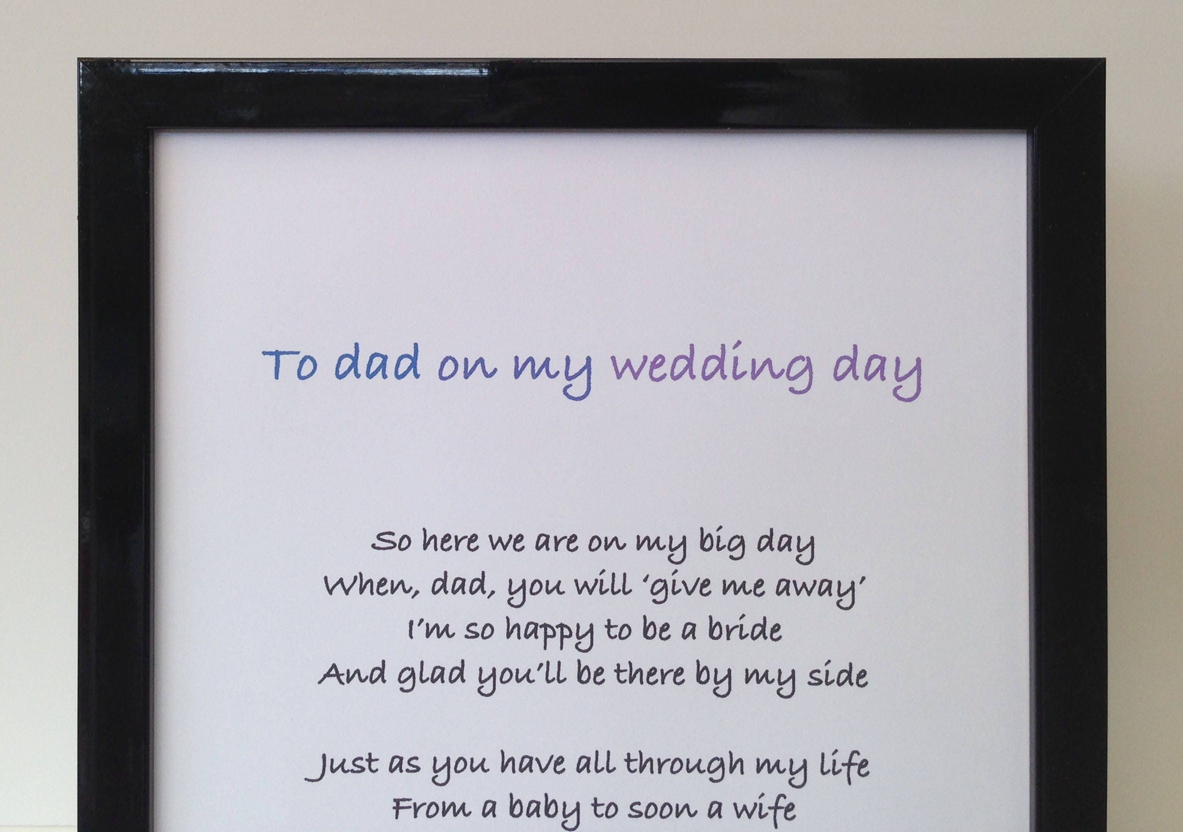 Gifts For Dad Wedding Day: Father Of The Bride Poem, Framed Personalised Gift To Step