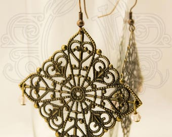 Earrings bronze filigree and pink beads.