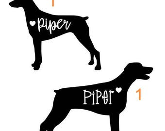 Custom Doberman Pinscher Decal with Name for Yeti/Tumbler, Car Window, Laptop; You Choose the Style