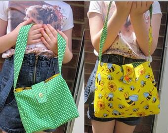 Cute  green and yellow reversible child's handbag