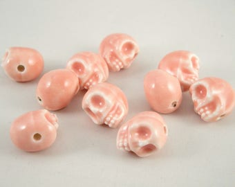 7 pearls in ceramic : skull, 13x13x11 mm,  pink