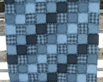 Shades of Blue Adult sized Flannel Rag Quilt Throw