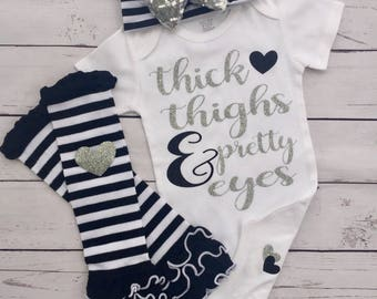 Thick thighs pretty eyes, baby girl, silver and black, baby shower, new baby, boutique baby