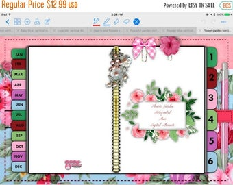 Final chance Flower Garden Tabbed Horizontal Digital Planner