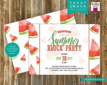 Summer, Block Party, Picnic, Invitation, Invite, Watermelon, BBQ, Barbecue, Barbeque, Picnic, Printable, 5x7, 4x6