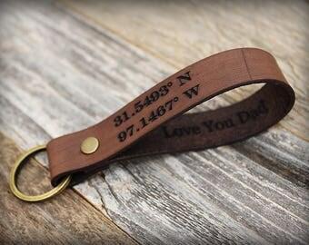 Leather Key Fob - Leather Keychain - Men's Keychain - Engraved Key Fob - Husband Gift - Custom Keychain - Personalized Key Fob - Key Chain