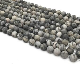 1Full Strand Matte Grey Picture Jasper Round Beads ,8mm 10mm Wholesale Gemstone For Jewelry Making
