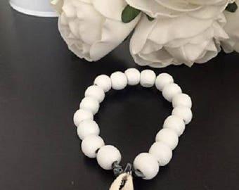 Java bracelet wood coquilage cowries hematite black elastic