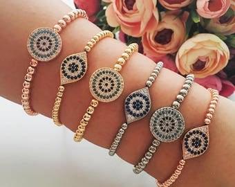 Evil eye bracelet, silver rose gold evil eye bracelet, beaded evil eye bracelet, nazar boncuk bracelet, evil eye jewelry, round oval bracele