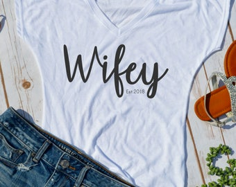 Custom wifey shirt- wife- bridal shirt- newlywed shirt- honeymoon tshirt- wifey shirt- wedding gift- bridal gift- funny wedding shirts