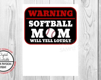 Softball Mom Birthday Iron On Shirt Transfer, Sports tshirt or clip art poster sign printable, Instant Download, warning baseball mom