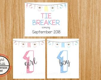 Tie Breaker Pregnancy Announcement Sign, Pregnancy Reveal, Printable, Pink or Blue, Instant Download, Boy and Girl Sign, due September 2018