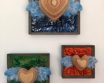 Trinity Hearts - Mixed Media Wood Wall Art