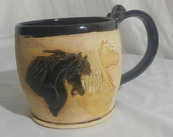 Horses calling stoneware pottery coffee mug tea cup