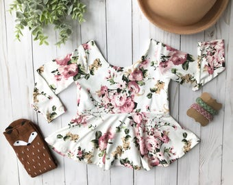 Soft Mauve Pink Cream Floral Peplum Top Girls 6 months to 6 years