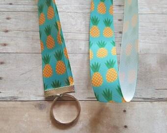 Pineapple Lanyard - ID badge holder, Nametag holder, Party favor, Gift, pineapple print, lanyard, preppy lanyard