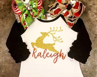 Christmas Ruffle Raglan with glitter reindeer; optional monogram with boutique bow. Rudolph sparkle shirt for toddlers, babies & big girls.