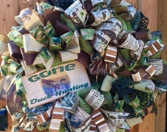 duck hunting,duck hunting decor,winter wreath,gifts for him,anniversary gift for him,boyfriend gift,southern wreath,duck hunting