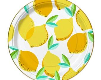 Lemon Plates, Fruit Party, Lemon Party Plates, Summer Party, Lemon Party, Gold Foil Plates, Lemons, Lemonade Party, Lemonade, Lemonade Stand