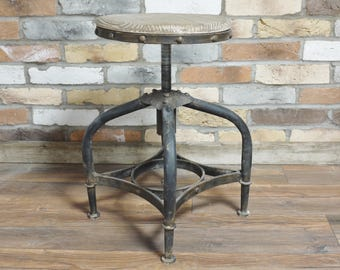 Industrial Stool - Vintage cast iron bar stool cafe restaurant 1920's 1930's shabby reclaimed wood london rustic stool seat bench chair pub