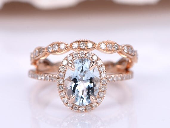 Aquamarine Ring Set,6x8mm Oval Cut Natural Aquamarine Engagement Ring,solid 14k Rose Gold,Marquise Style Diamond Wedding Band,Stacking Ring