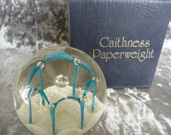 "Rare Caithness Glass Controlled Bubble Paperweight "" Maydance"" Blue & White with Original Box"