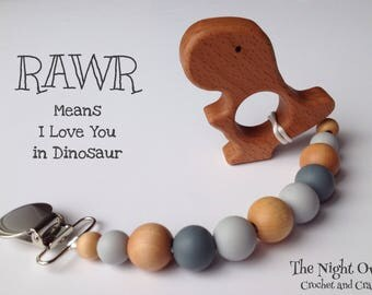 Silicone - Wood Pacifier Clip & opt. wood teether - Silicone Beads - Baby Girl / Boy - Binky Clip - Chew Beads soother clip, Greys/Wood