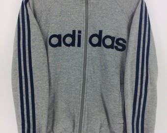 Vintage 90's Adidas Grey 3 Stripes Sport Classic Design Skate Sweat Shirt Sweater Varsity Jacket Size M #A881