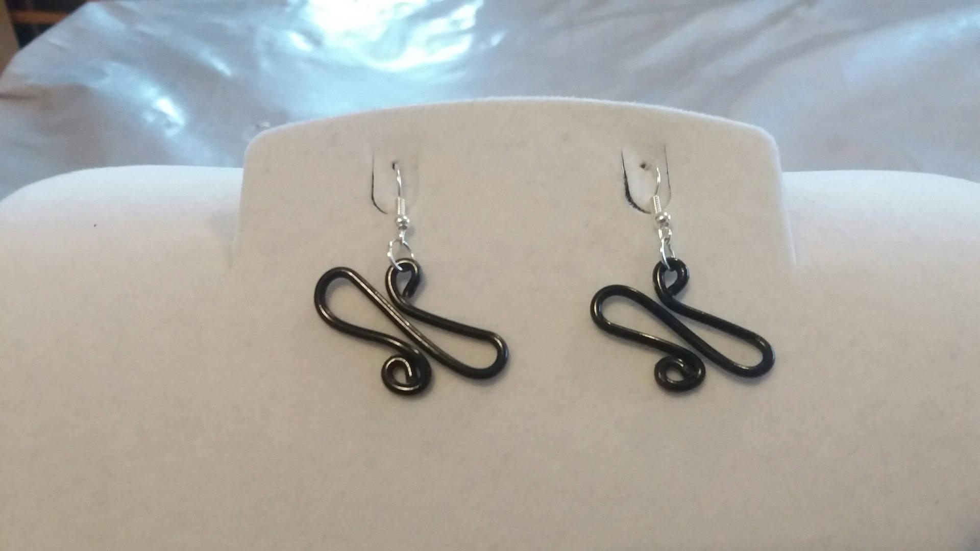 Black Aluminum Wire Earrings