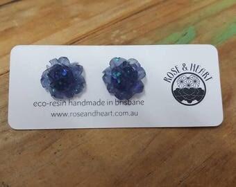 Iridescent eco-resin rose earrings