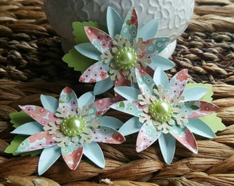Handmade Paper Flowers - Blue with Printed Flower - Scrapbook - Card Making - Tag Decor - Party Supply - Paper Goods - Flower Embellishments