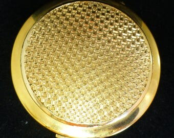 Stratton Vintage Gold Tone Metal Makeup / Vanity Case Mirror with Black Velvet Pouch, Stratton Guarantee and Black Gold Box - Mint Condition