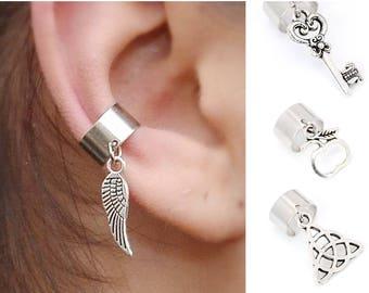 Conch piercing Cartilage hoop earrings Fake piercing Conch earring Silver Ear cuff no piercing Front back earrings Fake helix