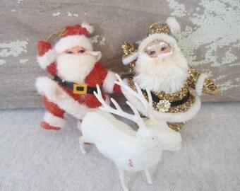 Vintage Christmas Ornaments Kitschy Santas & Reindeer Dancing Santas Plastic Reindeer