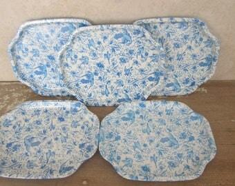 5 Small Metal Elite Trays Vintage Metal Serving/Snack Trays Blue Floral Bird Design Elite Made In England