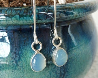 Blue Chalcedony Drop Earrings // Handmade Sterling Silver Dangle Earrings // Natural Gemstone Jewelry