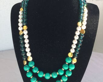 Malachite, crystal and Shellpearls Necklace