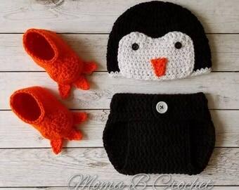 Crochet Penguin Baby Set, Boy Penguin Baby Set, Penguin Baby Set, Penguin Hat, Penguin Diaper Cover, Penguin Photo Prop Set,Crochet Baby Set