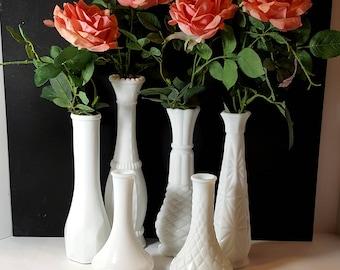 6 MILK GLASS VASES White Vase Collection Vintage Wedding White Bud Vase Set