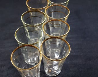 "8 Vintage LIQUEUR GLASSES 3"" Gold Rimmed Cordial Glasses Wedding Shots Vintage Barware 1930s Shot Glasses Aperitif Bar Glasses Toasts"
