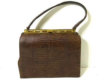 Vintage Reptile Skin Handbag Vintage Bellstone Purse Reptile Skin Kelly Bag 1950's Lizard Skin Purse Mid Century Brown Snakeskin Handbag