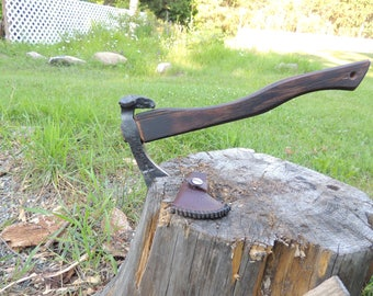 Railroad Spike Tomahawk With Skull