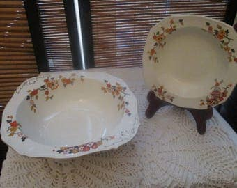 Alfred Meakin Orange Windmill Retro Vintage Set of Two Bowls