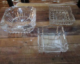 Vintage Glass Pressed Glass -  Square Ash Trays (1970s)