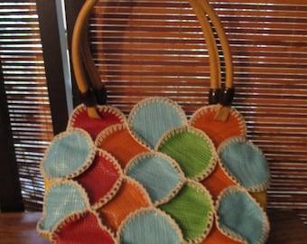 Center Patchwork Handbag with Zip